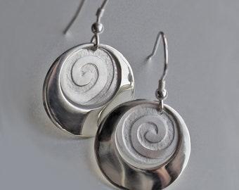 Spiral Earrings, Silver Earrings, Handmade Earrings, Sterling Silver Earrings, Jewellery, Jewelry