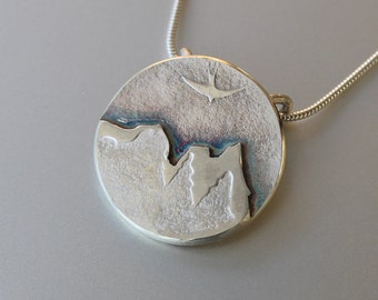 Mountain Pendant, Sterling Silver Pendant Jewelry, Hand Made Silver Pendant, Silver Jewellery.