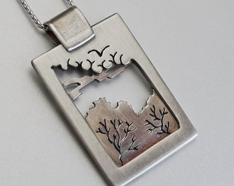 Silver Tree Pendant, 'Chelsea Morning', 'Sheffield Morning' silver jewelry