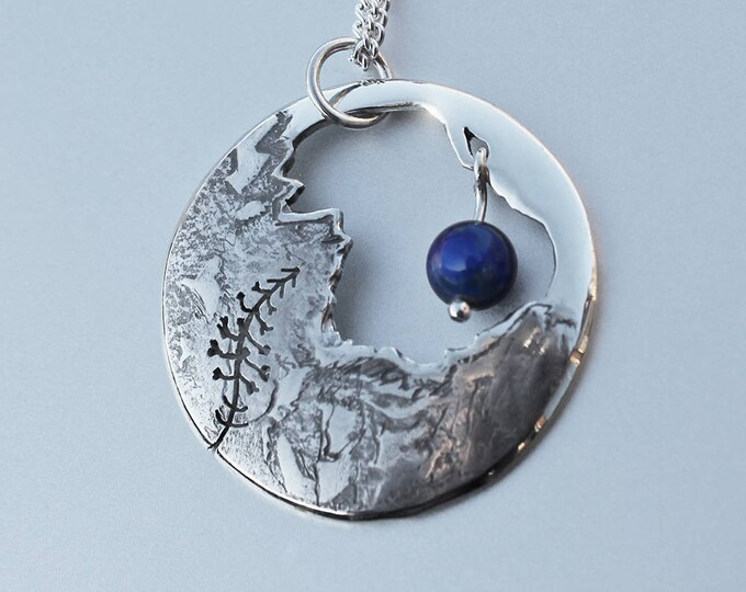 Lapis Pendant, Silver Pendant, Lapis Jewellery, Striding Edge mountain jewellery.