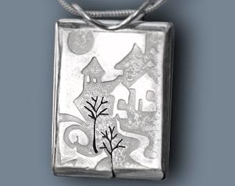Moonscape Scenic Pendant, Silver Pendant, Silver Jewellery.
