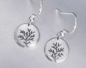 Bushy Tree Earrings, Sterling Silver earrings, Handmade Silver Jewellery, Earrings.
