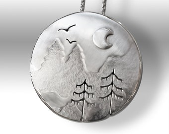 Day Moon Mountain pendant, Silver Pendant, silver jewelry, mountain jewellery.