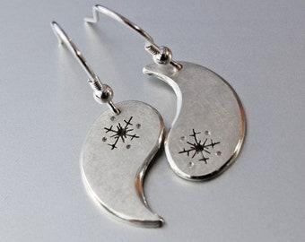 Snowflake Silver Earrings, Silver Jewellery, Asymmetric Earrings, Sterling Silver Earrings.