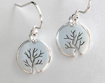 Tiny Bushy Tree Earrings, Sterling Silver earrings, Handmade Silver Jewellery, Earrings.