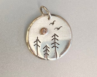 Free Birds in Flight, Fir Tree, Copper Sun, Silver Jewelry, Silver Jewellery, Silver Pendant, Bird Jewelry.