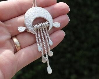 Sunshine Waterfall Silver Pendant, Sterling Silver Jewellery, silver pendant.