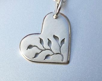 Love Grows, Heart Pendant, Growing Love Pendant, Leafy Heart Pendant, Sterling Silver Jewellery, Silver Pendant.