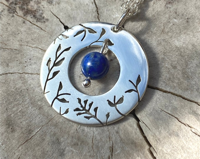 Featured listing image: Silver Pendant, Lapis Misty Meadow, Handmade Jewelry, Silver Necklace.