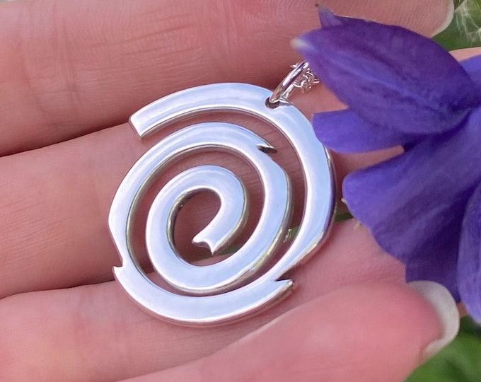 Featured listing image: Spiral Pendant, Silver Jewellery, Galaxy Necklace.