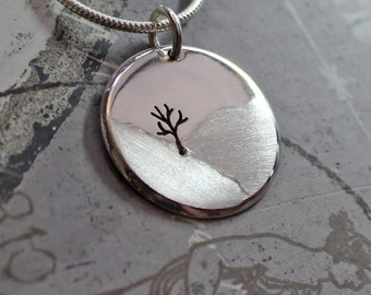 Tree Pendant, Tree in the Landscape, Silver Jewelry, Silver Pendant, Pendant, Silver Jewellery