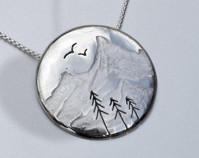 Silver Mountain Pendant, Silver Jewellery, silver jewelry, mountain jewellery, bird pendant.