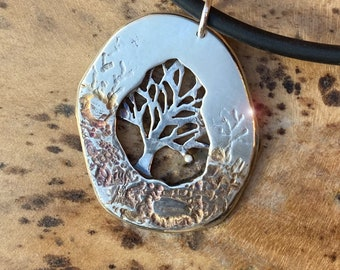 Solitary Tree, Tree of Life Pendant, Silver Jewelry, Silver Pendant, Tree Pendant, Silver Jewellery.