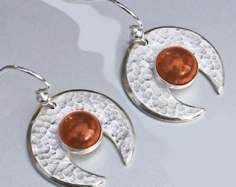 Hammered Earrings, Amber 'Genie' Earrings, Silver Earrings, Sterling Silver Earrings, amber earrings.