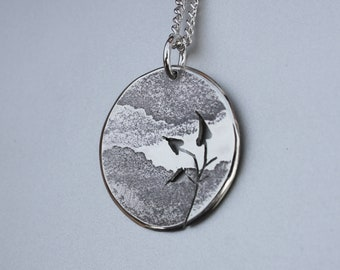 Mountain Leaves Pendant, Silver Pendant, Silver Jewellery.