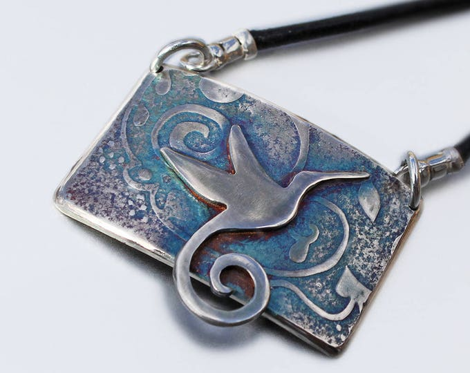Silver Jewelry, Silver Jewellery, Bird Jewelry, Hummingbird and Abstract Pendant, Reversible Pendant
