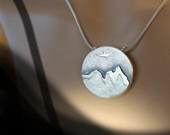 Mountain Pendant, Sterling Silver Pendant Jewelry, Hand Made Silver Pendant, Silver Jewellery.