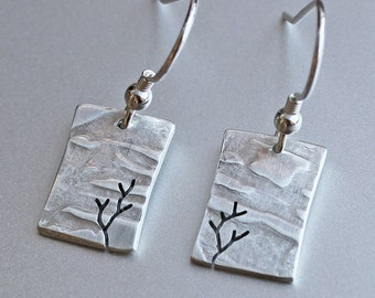 Tree Earrings, Sterling Silver earrings, Silver Jewellery, Jewelry.