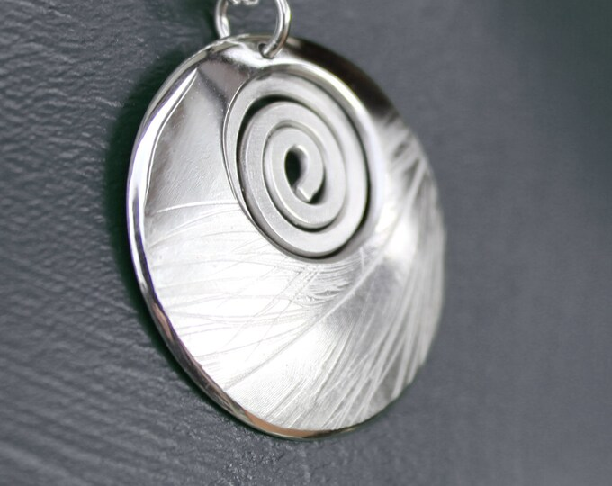 Featured listing image: Spiral Pendant, Feather Pendant, Silver Pendant, Sterling Silver Necklace.