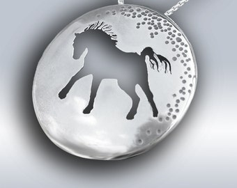 Horse Charmer, Silver Necklace, Silver Pendant, Handmade Silver Horse Jewellery, Horse Pendant.