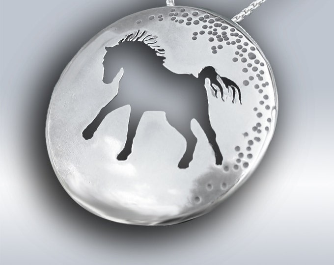 Featured listing image: Horse Charmer, Silver Necklace, Silver Pendant, Handmade Silver Horse Jewellery, Horse Pendant.