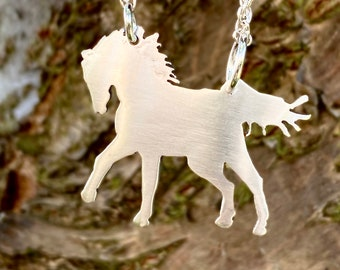Brushed Silver Horse Necklace, Silver Pendant, Silver Horse Jewellery, Horse Pendant.