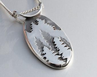 Fir Tree Mountain Pendant, Silver Pendant, Silver Mountain Necklace, Mountain Pendant, Fir Tree Pendant.