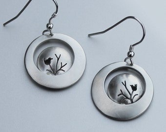 Bird on Branch Earrings, Sterling Silver earrings, Silver Jewellery, Bird Earrings.