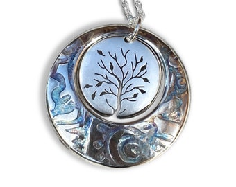 Tree of Life, Silver Pendant, silver jewellery, Sterling silver pendant, circle in circle.