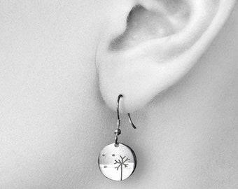 Tiny Beach Tree Earrings, Sterling Silver earrings, Handmade Silver Jewellery, Earrings.