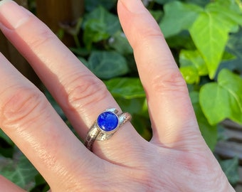 Lapis Ring, Hammered Silver Band, 'Wrap Around' Ring.
