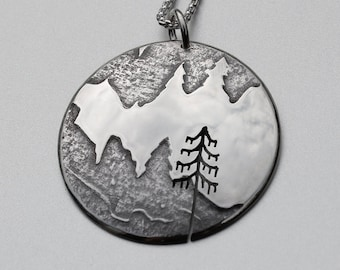 Mountain Pendant, Silver Jewelry, Silver Pendant, Silver Jewellery, Lonesome Pine Necklace.