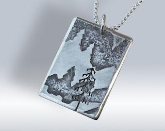 Silver Fir Tree Mountain Pendant, Silver Jewelry, Silver Jewellery, Silver Pendant.