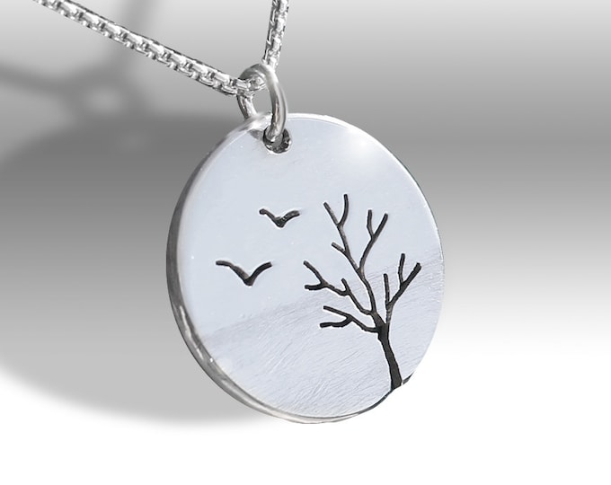 Featured listing image: Birds and Tree Pendant, Silver Jewelry, Silver Pendant, Pendant, Bird Pendant
