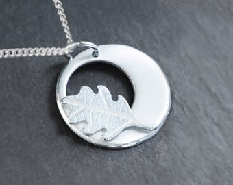 Silver Oak Leaf Jewelry, Silver Jewellery, Handmade Silver Pendant.
