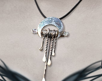 Boho Silver Pendant, Sterling Silver Jewellery, silver amulet pendant.