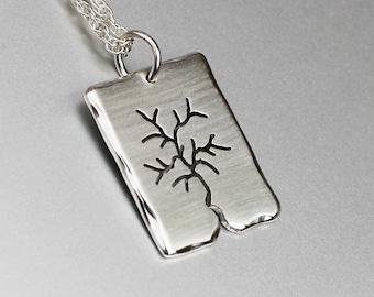 Silver Tree Pendant, rectangular Silver pendant, Silver Jewellery, Silver Pendant.