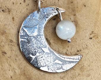 Moonstone Moon, Moon Pendant, Moonstone Pendant, Silver Necklace, Silver Pendant, Silver Jewellery.