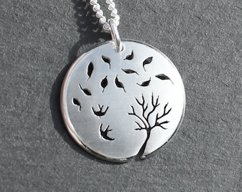 Windy Day Pendant, Sterling Silver Pendant, Silver Jewellery, Flurry of Leaves.