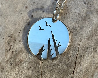 Silver tree pendant. 'Look up', Sterling Silver Pendant, Silver Jewellery.