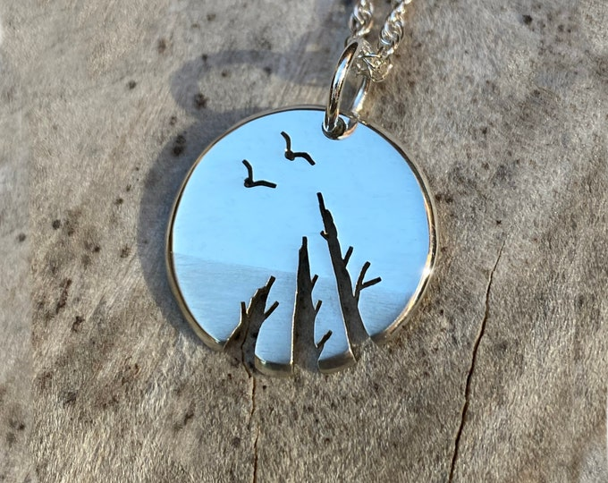 Featured listing image: Silver tree pendant. 'Look up', Sterling Silver Pendant, Silver Jewellery.