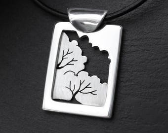 Woodland Window, Silver Pendant, silver jewelry