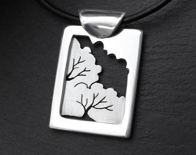 Silver Pendant, 'Woodland Window', silver jewelry