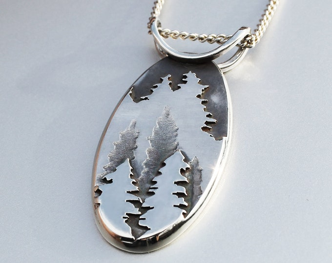 Featured listing image: Fir Tree Mountain Pendant, Silver Pendant, Silver Mountain Necklace, Mountain Pendant, Fir Tree Pendant.