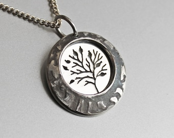 Small Tree of Life, Silver Pendant, silver jewellery, Sterling silver pendant, circle in circle.