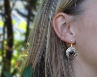 Hammered 'Genie' Earrings, Silver Earrings, 'Genie' Earrings, Silver Jewellery, Sterling Silver Earrings.