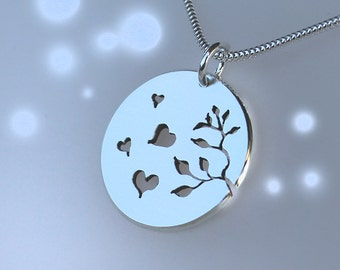 Autumn Hearts Pendant, Sterling Silver Pendant, Silver Jewellery.