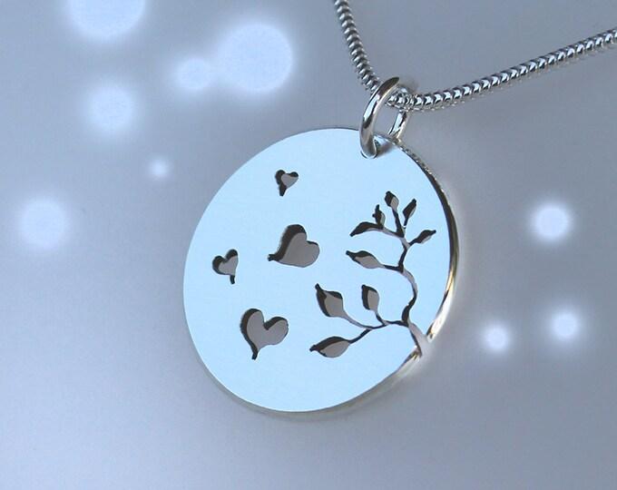 Autumn Hearts Pendant, Sterling Silver Pendant, Silver Jewellery.