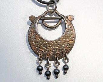 Silver Pendant, Boho Jewellery, Hematite Pendant, Rustic Silver Jewelry, Handmade Silver Pendant.