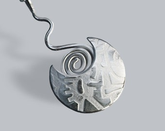Shield Spiral Pendant, Silver Jewelry, Silver Jewellery, Abstract Silver Necklace.